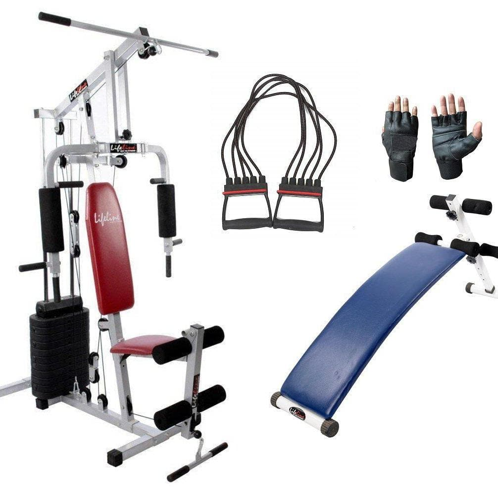 Lifeline Home Gym Set 002 For Workout At Home Bundles With Chest Expander, Gym Gloves and Fitness Curve Bench 5501A || Available on EMI-IMFIT