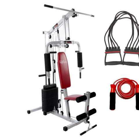 Image of Lifeline Small Home Gym Set 002 For Workout At Home Bundles With Chest Expander and Skipping Rope || Available on EMI-IMFIT
