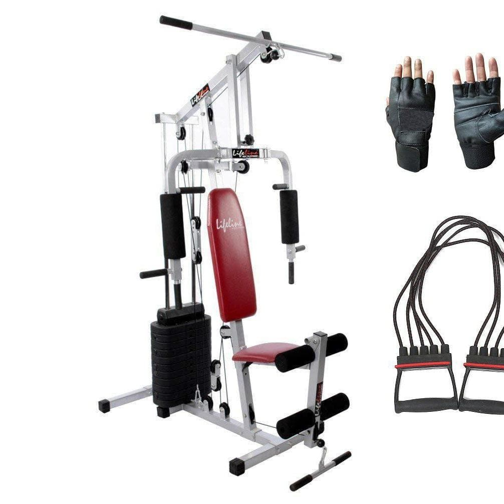 Lifeline Home Gym Fitness Equipment 002 For Workout At Home Bundles With Chest Expander and Gym Gloves || Available on EMI-IMFIT