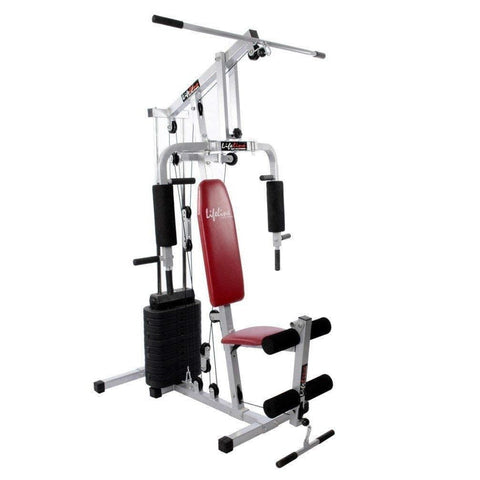 Image of Lifeline Multi Station Home Gym 002 For Workout At Home Bundles With Chest Expander, Skipping Rope and Fitness Curve Bench 5501A || Available on EMI-IMFIT