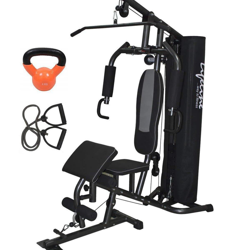 Lifeline Home Gym Fitness Equipment Deluxe 005 For Workout At Home Bundles With Resistance Band and Kettle Bell 4 Kg || Available on EMI-IMFIT