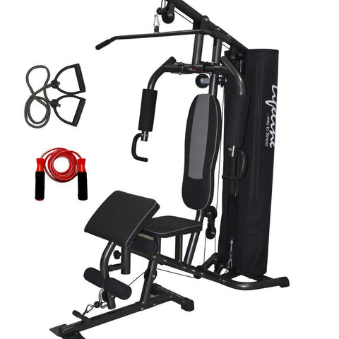 Image of Lifeline Home Gym Set Deluxe 005 For Workout At Home Bundles With Resistance Band and Skipping Rope || Available on EMI-IMFIT