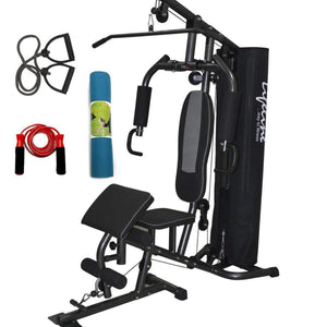 Lifeline Home Gym Machine Deluxe 005 For Workout At Home Bundles With Resistance Band, Skipping Rope and Yoga Mat || Available on EMI-IMFIT