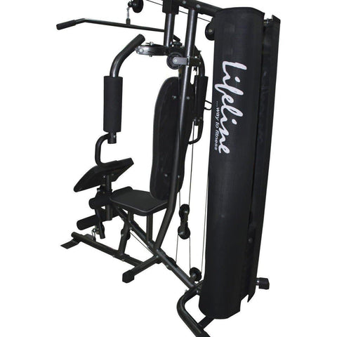 Image of Lifeline Home Gym Machine Deluxe 005 For Workout At Home Bundles With Chest Expander, Gym Gloves and Exercise Curve Bench 5501A || Available on EMI-IMFIT