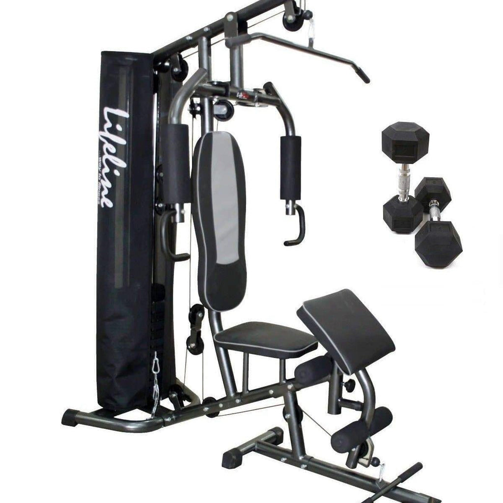 Home Gym Equipment Online - Lifeline Home Gym Machine Deluxe 005 Bundles With 5 Kg Dumbbell Set