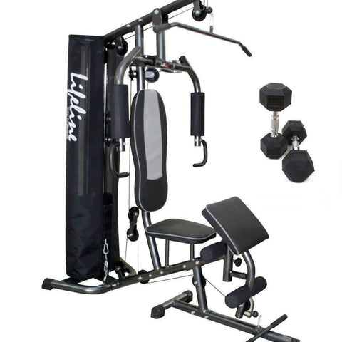 Image of Home Gym Equipment Online - Lifeline Home Gym Machine Deluxe 005 Bundles With 5 Kg Dumbbell Pair