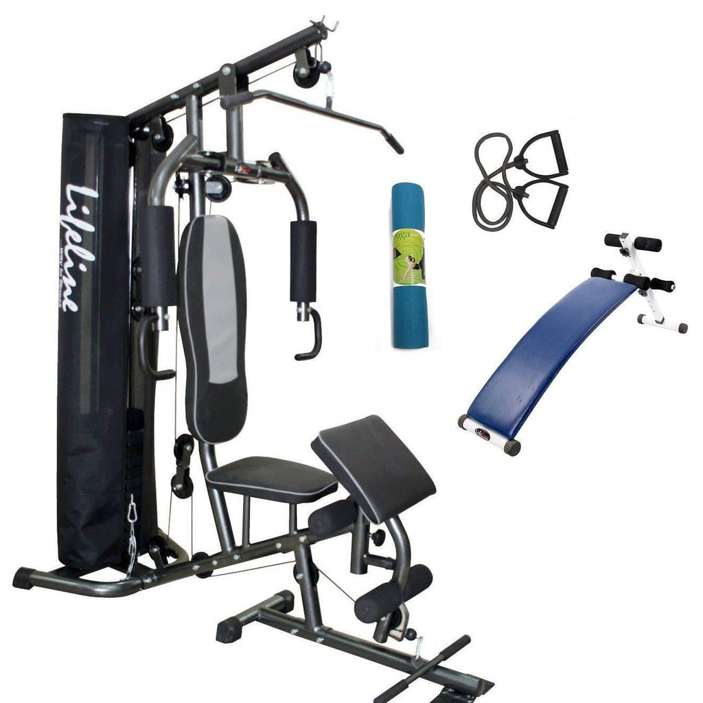 Lifeline Home Gym Setup Deluxe 005 For Workout At Home Bundles With Resistance Band, Yoga Mat and Fitness Curve Bench 5501A || Available on EMI-IMFIT