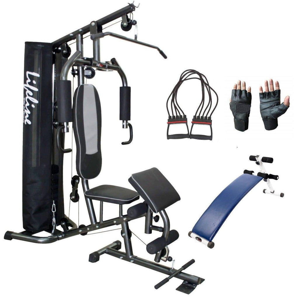 Lifeline Home Gym Machine Deluxe 005 For Workout At Home Bundles With Chest Expander, Gym Gloves and Exercise Curve Bench 5501A || Available on EMI-IMFIT