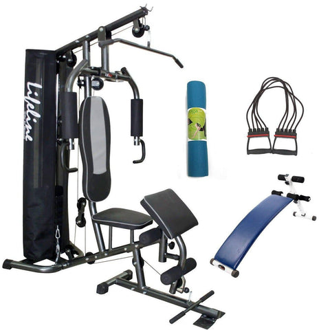 Compact Home Gym Set - Lifeline Deluxe HG 005 Bundles With Chest Expander, Yoga Mat and Fitness Curve Bench 5501A