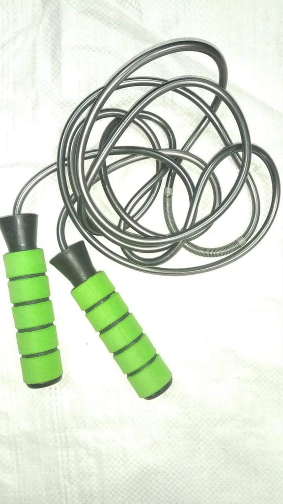 Myspoga 6 Feet 916 Skipping Rope for Workout | Plastic Rubber Coated Handle with Sold Mech Ball Bearing (Green/Silver