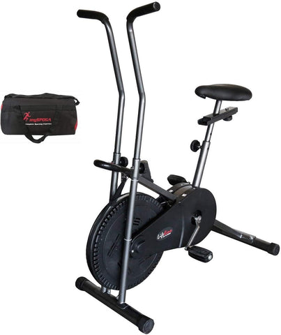 Image of Best Budget Bike - Lifeline 102 Steel Gray Air Bike with Gym Bag