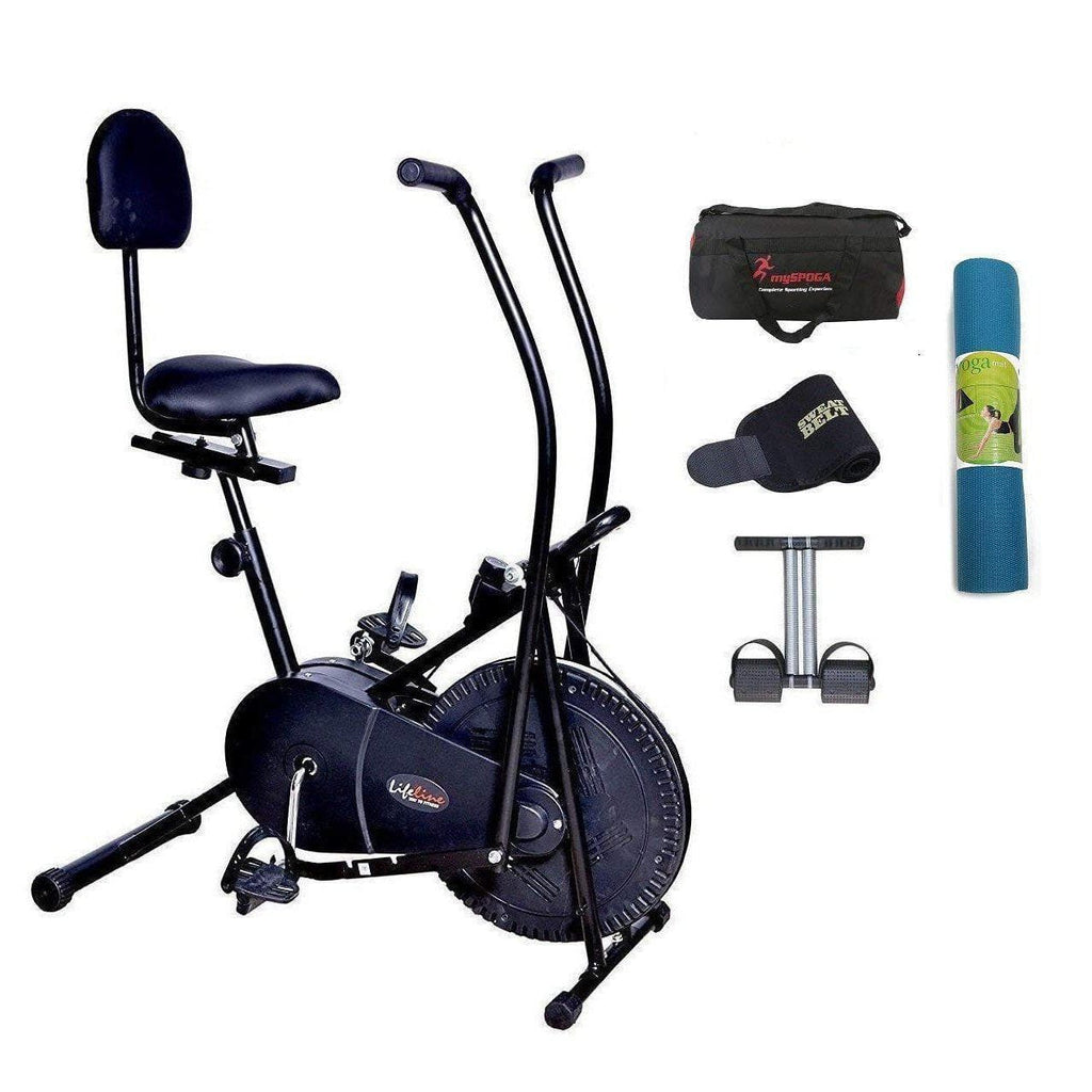 Lifeline Exercise Air Bike with Back Seat | Bundles with the Bag, Sweat Belt, Tummy Trimmer, and Yoga Mat-IMFIT