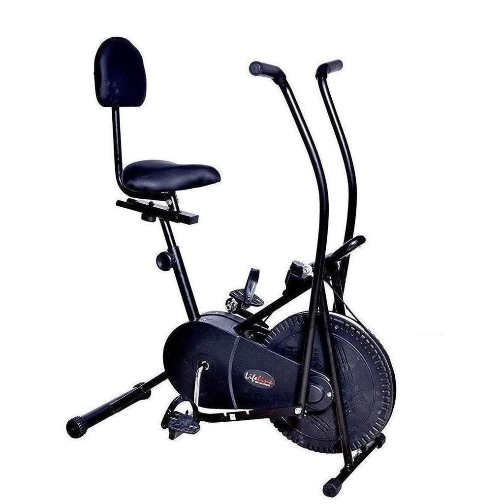 Best Exercise Cycle in India - Lifeline Back Support Air Bike | Bonus with Yoga Mat and Accessories (6 Items)