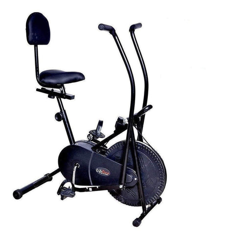 Image of Best Exercise Cycle in India - Lifeline Back Support Air Bike | Bonus with Yoga Mat and Accessories (6 Items)