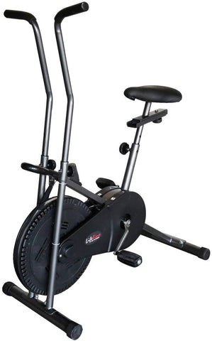 Image of Lifeline 102 Steel Gray Fitness Cycle | Bonus with Tummy Trimmer, Gym Bag, Yoga Mat, Skipping Rope and Sweat Belt