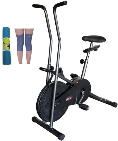 Image of Lifeline Exercise Cycle 102 Steel Gray for Weight Loss at Home || Bundles with Yoga Mat (6mm) and Knee Cap (Four Way Stretch)