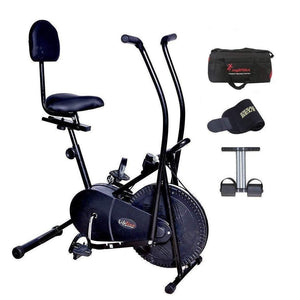 Lifeline 103 Back Support Exercise Bike | Bundles with Gym Bag, Sweat Belt and Tummy Trimmer-IMFIT