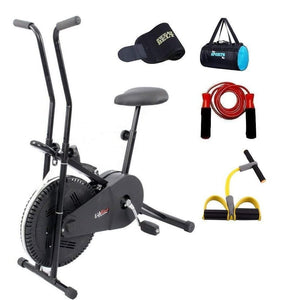 Lifeline Exercise Bike Combo (Black) with Gym Bag, Sweat Belt, Pull Reducer and Skipping Rope-IMFIT