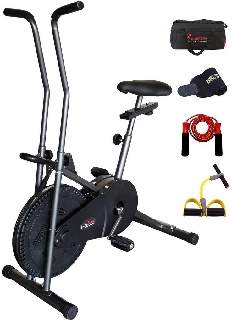 Lifeline 102 (Steel Gray Color) Cycle for Exercise | Bonus with  Gym Bag, Sweat Belt, Pull Reducer and Skipping Rope