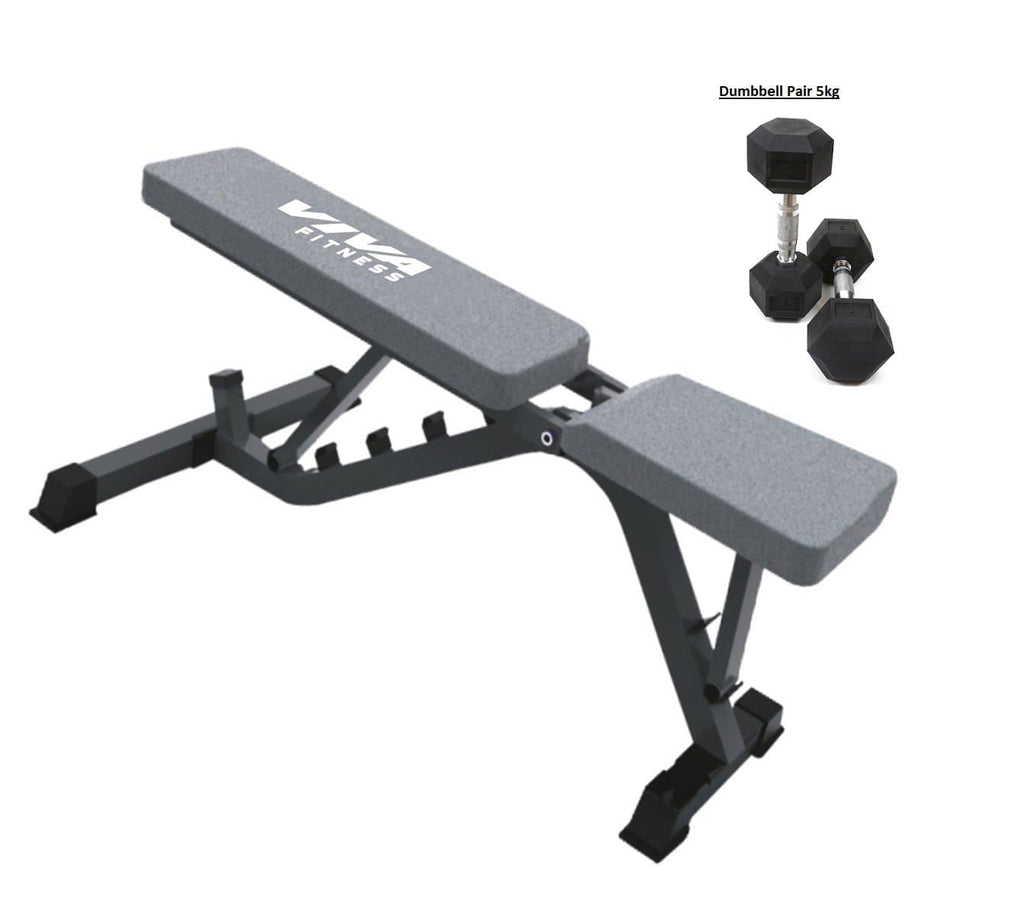 Sit Up Bench - Viva Fitness VX-203A Adjustable Utility Bench Bonus With Dumbbells Pair