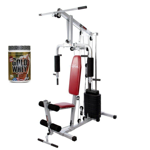 Image of Lifeline Home Gym 002 Bonus with Weider Gold whey Protein 908 GMS (Milk Chocolate)-IMFIT