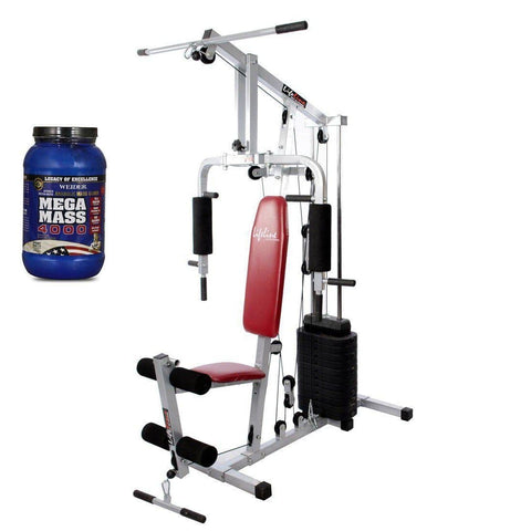 Image of Lifeline Home Gym 002 Bonus with Weider Mega Mass 4000 2.3 kg (Creamy Vanilla)-IMFIT
