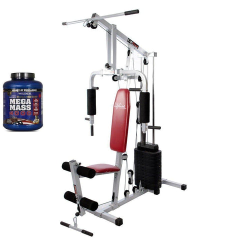 Image of Lifeline Home Gym 002 Bonus with Weider Mega Mass 4000 3.9 kg and (Smooth Chocolate)-IMFIT