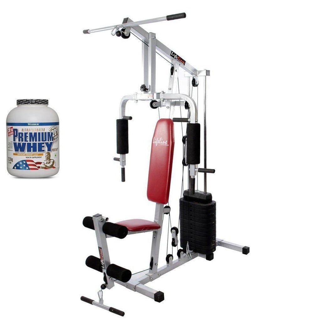 Lifeline Home Gym 002 Bonus with Weider Premium whey Protein 2.3kg (Chocolate Nougat)-IMFIT