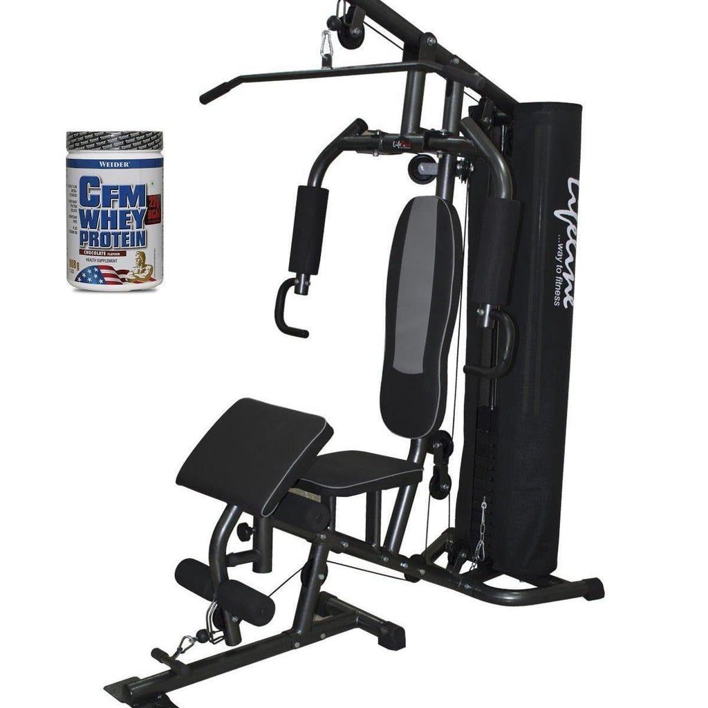Lifeline Home Gym 005 Deluxe Bundles with Weider CFM Whey Protein 908 GMS (Chocolate)-IMFIT