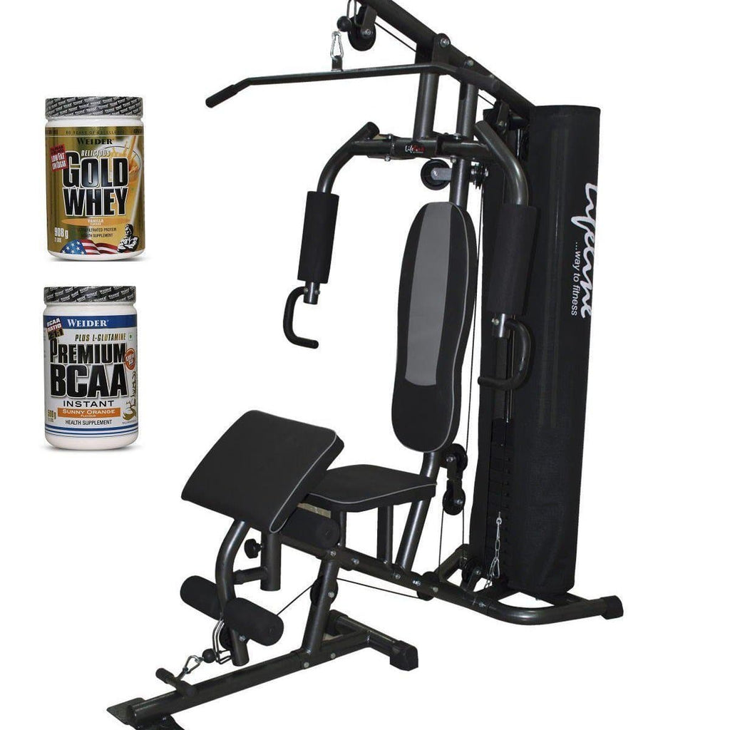 Lifeline Home Gym 005 Deluxe Bundles with Weider Gold whey Protein 908 GMS (Vanilla Fresh) and Weider Premium BCAA Powder 500GMs (Sunny Orange)-IMFIT