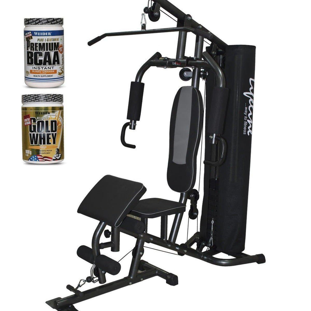 Lifeline Home Gym 005 Deluxe Bundles with Weider Gold whey Protein 908 GMS (Vanilla Fresh) and Weider Premium BCAA Powder (Sunny Orange)-IMFIT