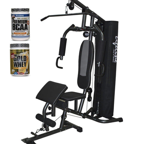 Image of Lifeline Home Gym 005 Deluxe Bundles with Weider Gold whey Protein 908 GMS (Vanilla Fresh) and Weider Premium BCAA Powder (Sunny Orange)-IMFIT
