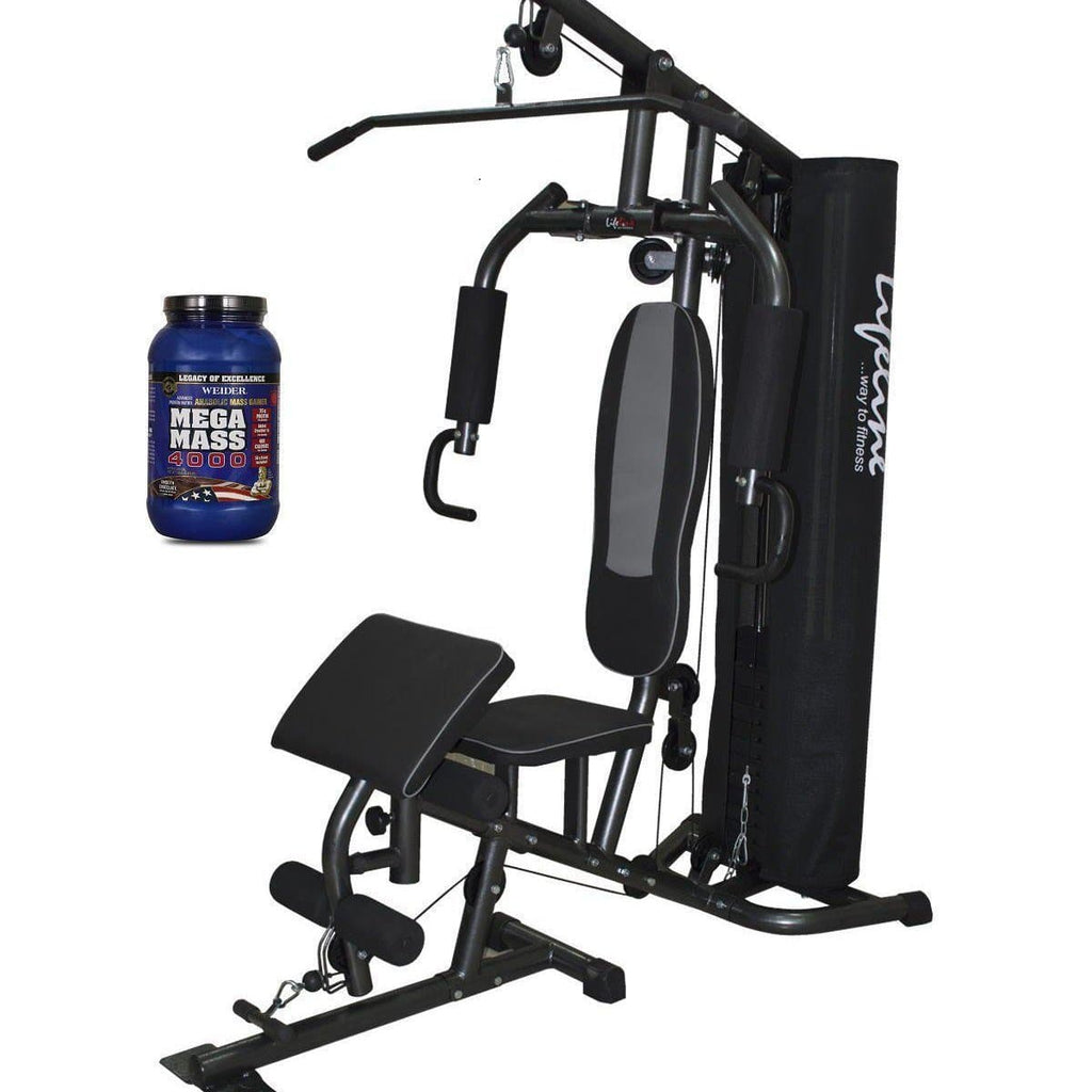 Lifeline Home Gym 005 Deluxe Bundles with Weider Mega Mass 4000 2.3 kg (Smooth Chocolate)-IMFIT