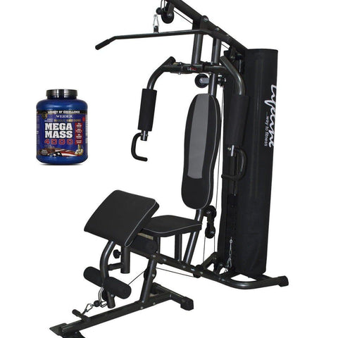Image of Lifeline Home Gym 005 Deluxe Bundles with Weider Mega Mass 4000 3.9 kg (Smooth Chocolate)-IMFIT