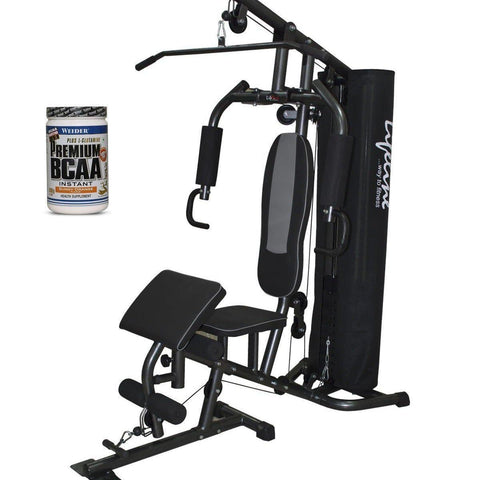 Image of Lifeline Home Gym 005 Deluxe Bundles with Weider Premium BCAA Powder 500GMs (Sunny Orange)-IMFIT