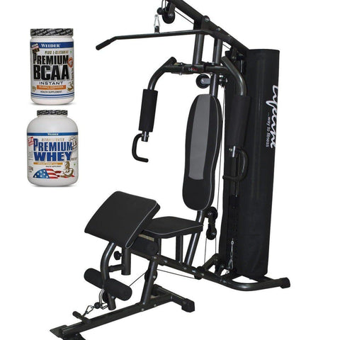 Image of Lifeline Home Gym 005 Deluxe Bundles with Weider Premium whey Protein 2.3kg (Chocolate Nougat) and Weider Premium BCAA Powder 500GMs (Sunny Orange)-IMFIT