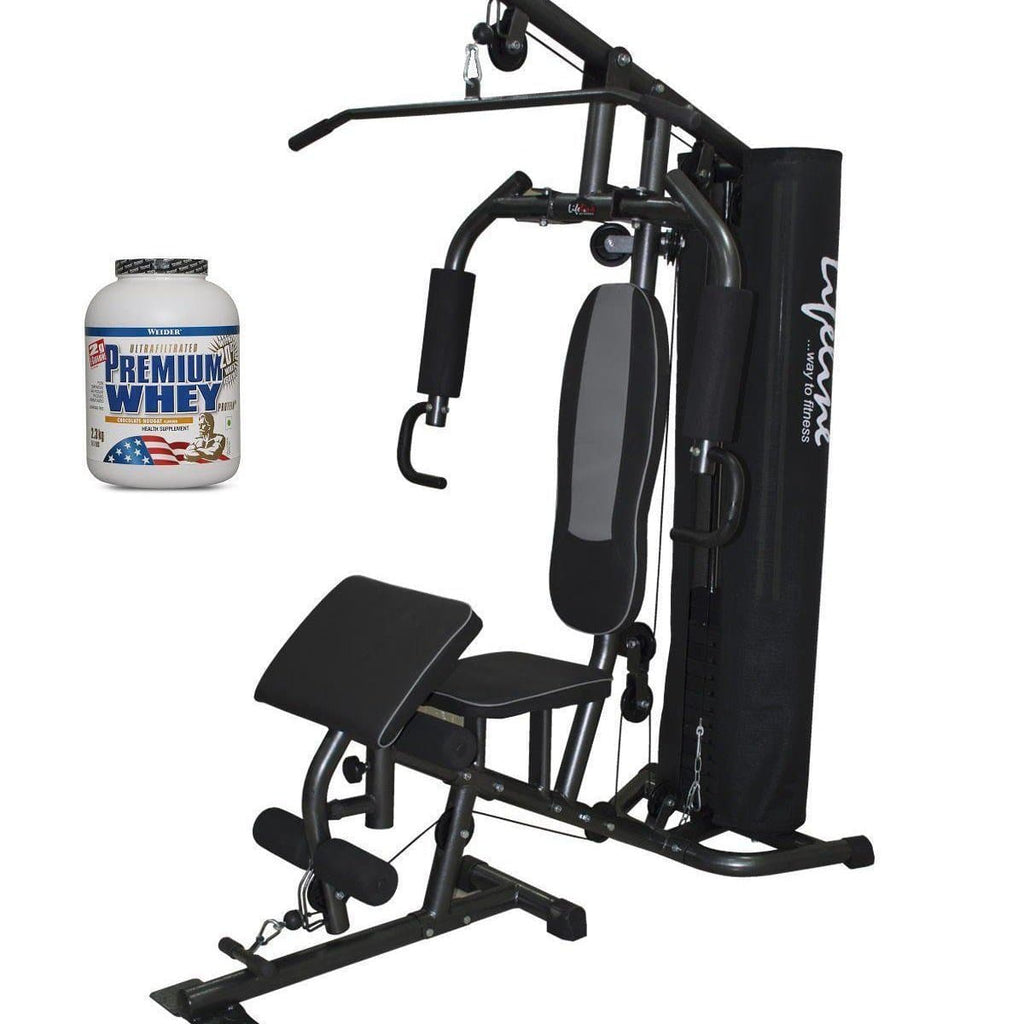 Lifeline Home Gym 005 Deluxe Bundles with Weider Premium whey Protein 2.3kg (Chocolate Nougat)-IMFIT