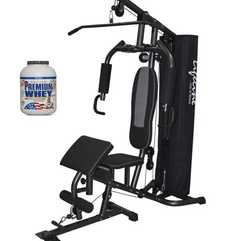 Image of Lifeline Home Gym 005 Deluxe Bundles with Weider Premium whey Protein 2.3kg (Chocolate Nougat)-IMFIT