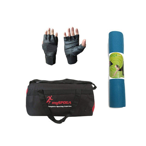 Lifeline Home Gym Equipment Set HG 005 for Workout at Bundles with Yoga mat, Gym Bag, Skipping Rope VSR 951 and Gym Gloves (4 Accesories)-IMFIT