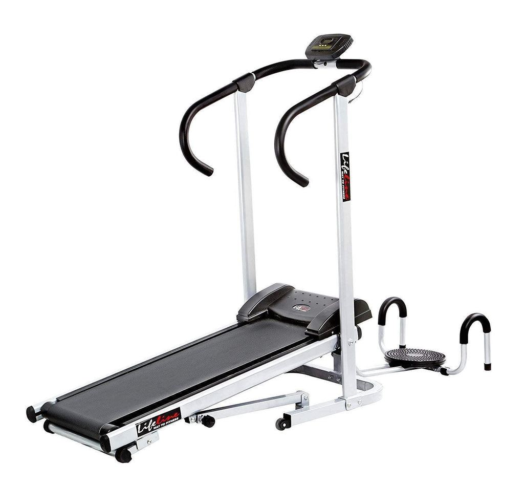 Manual Walking Machine - Lifeline Manual Treadmill with Twister and Push-up Wheel Running For Home use
