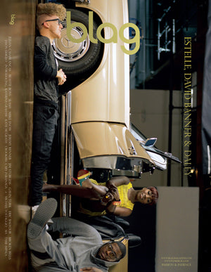BLAG magazine cover with Estelle, David Banner and Daley to celebrate their collaboration for Mercedes Benz. The trio are photographed around a vintage Mercedes Benz.
