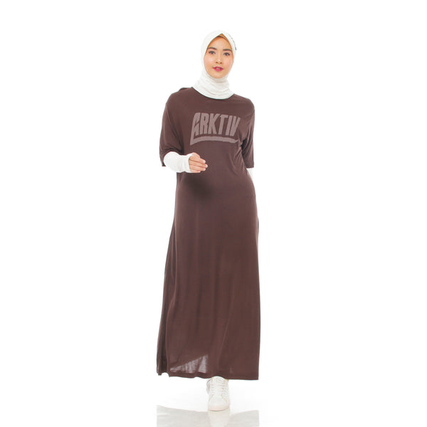 Comfy Dress Brown Short Sleeve