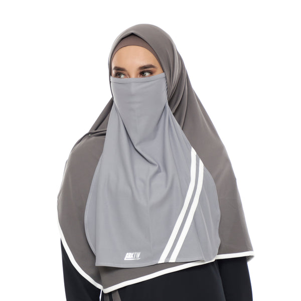 Basic Stripe Niqab Grey - White