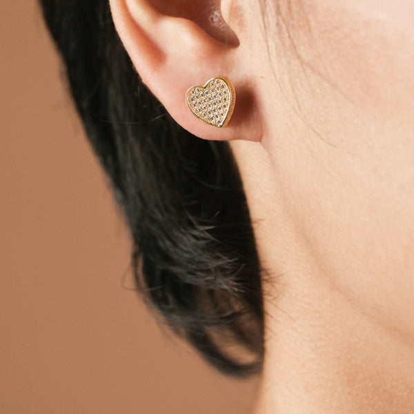 Stacked heart studs