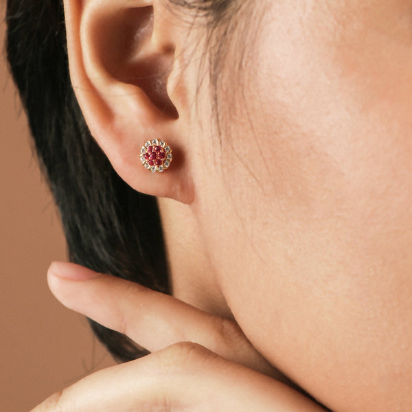 Rosa Ruby Cubic Studs