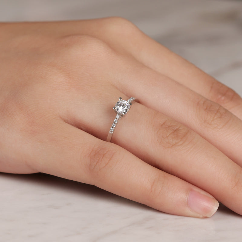 Embellished Thin Band Engagement Ring
