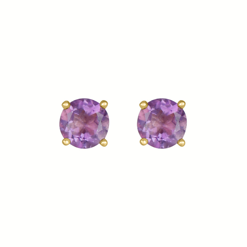 Birthstone Round Earrings - February (Amethyst Colored CZ)