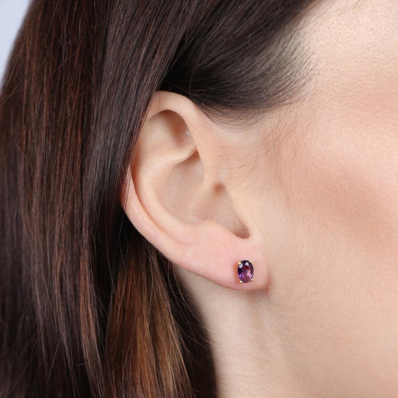 Birthstone Oval Earrings - February (Amethyst Colored CZ)