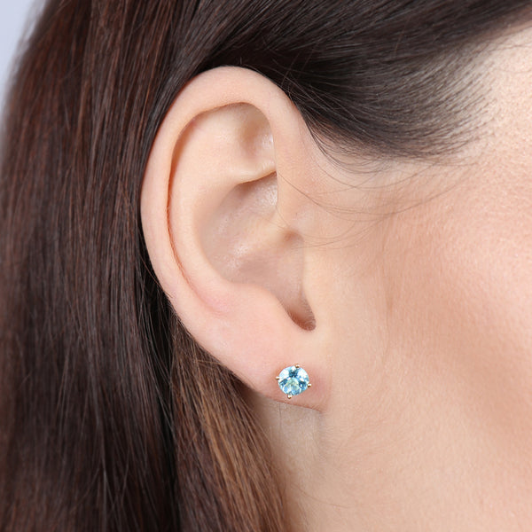 Birthstone Round Earrings - December (Topaz Colored CZ)