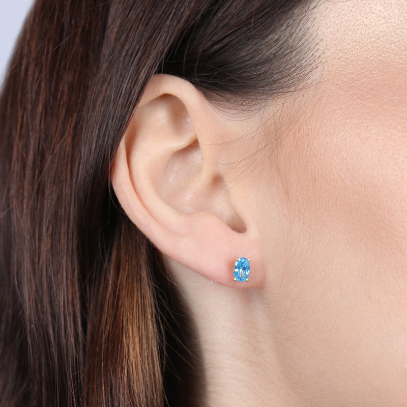Birthstone Oval Earrings - March (Aquamarine Colored CZ)
